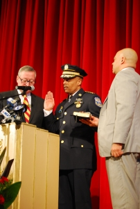 Richard Ross (241, center) gets sworn in as police commissioner by Philadelphia's Mayor Jim Kenney (left) and District Attorney Seth Williams (244, right). Photo Credit: Albert Tanjaya (275)