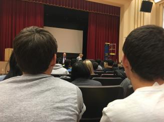 Students listening to Anneliese Nossbaum. Photo Credit: Jamie Railer (277)