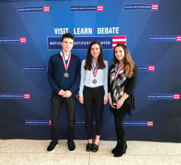 Eli Simon (278), Abigail Leedy (278), and Sasha Hochman (278) pose with their medals. PC: NHD staff