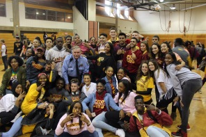 Mr. Quigley and members of 276 during Senior Spirit Day