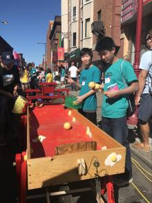 Wallace Ruan (278) manning the egg yolk carnival activity.