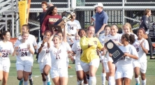The Girls' Varsity Soccer Team celebrates their second Public League Championship win in a row. PC: Denise Eiler