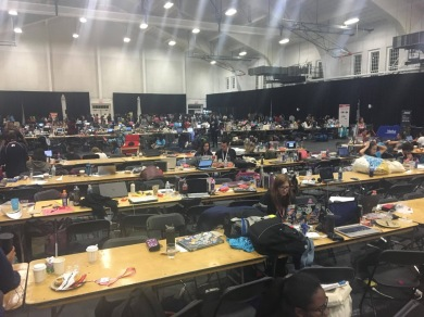 Young coders work in a vast, open gymnasium at the University of Maryland. PC: Esmeralda Zere (278)