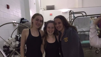 Left to right, senior swim members Lola Bradbury (277), Sophie Haskell (277), and Alisa Lozano (277).