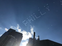 "Planes flew over the Benjamin Franklin Parkway to spell ""Philly Philly"" in the clouds, a play on the catchphrase of a popular Bud Light advertisement ""Dilly Dilly."" PC: Serena Schwartz (277)"