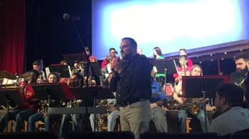 Central's jazz band director, Mr. Franchetti (255) introduces the jazz band and Jason Kelce (far right). PC: Grace Del Vecchio (277)
