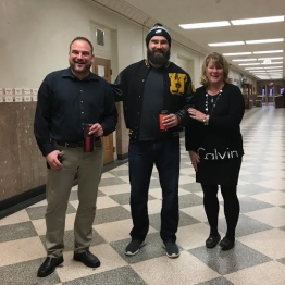 (Left to right) Jazz band director Mr. Franchetti (255), Philadelphia Eagle Jason Kelce, and Assistant Principal Ms. Harrington. PC: Darya Bershadskaya (277)