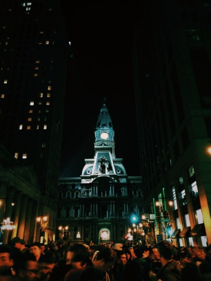Thousands of Philadelphians, including many Central students, congregated in Center City on Sunday Night to celebrate the victory. PC: Jacqueline Reichner (277)