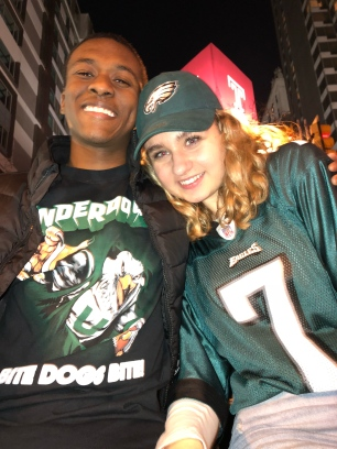 Seniors Christopher Carson (277) and Jacqueline Reichner (277) took to Broad Street on Sunday night soon after the Philadelphia Eagles won Superbowl LII. PC: Jacqueline Reichner (277)