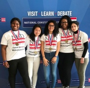 "Esmerelda Zere, Jenny Dong, Kimberly Danni, Jennifer Butler, and Juliannie Ortega (278); 1st Place: ""Daughters of Freedom: Women's Struggle for Voting Rights in America"" PC: Instagram @nhdphilly"